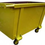Contentor metálico com rodas para lixo